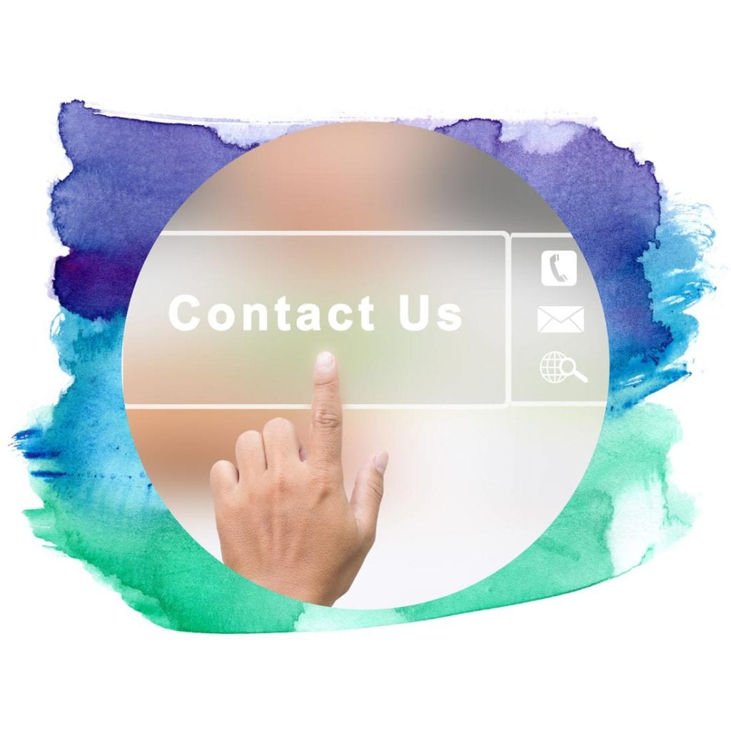 Hand pointing to a contact us button