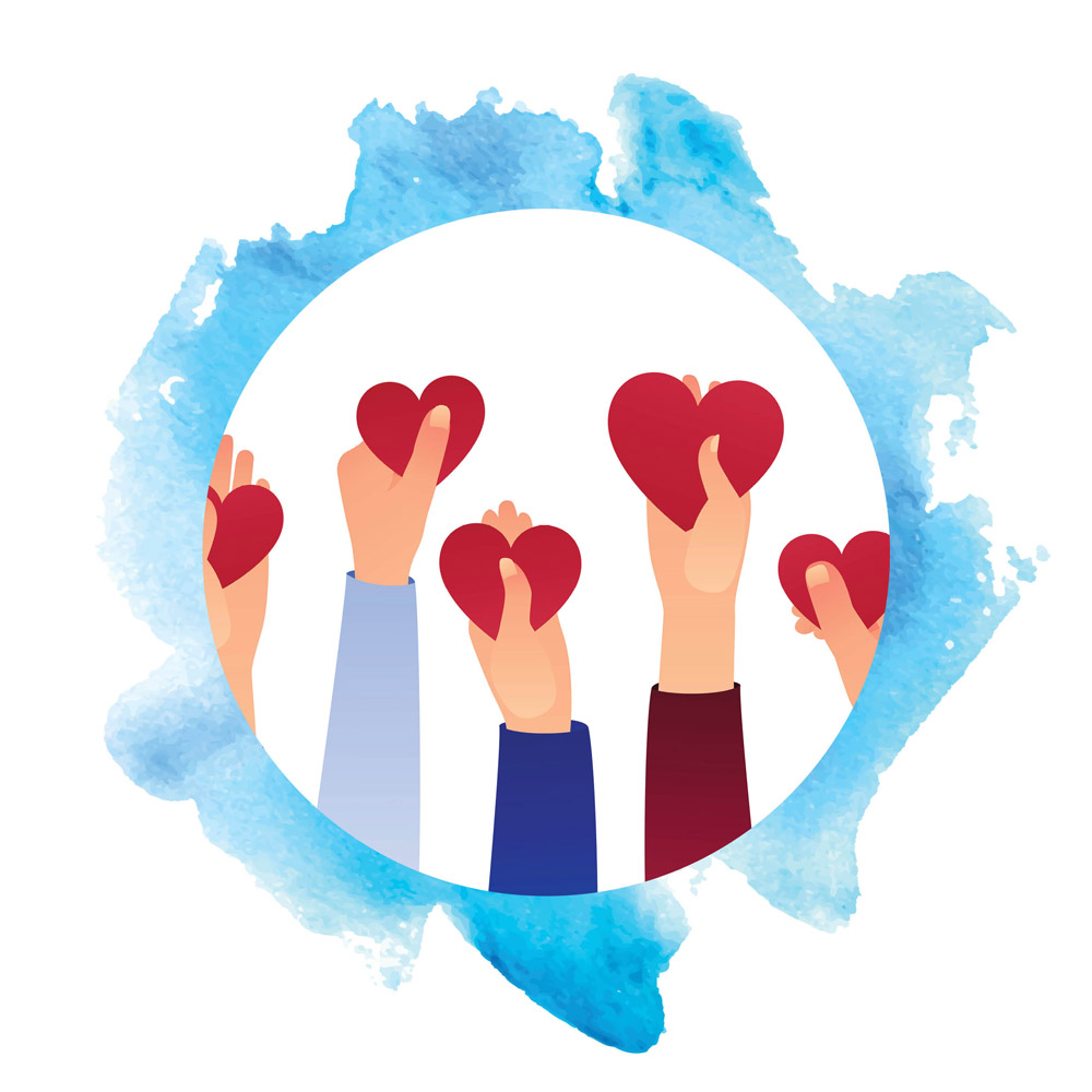 Five hands holding up hearts.